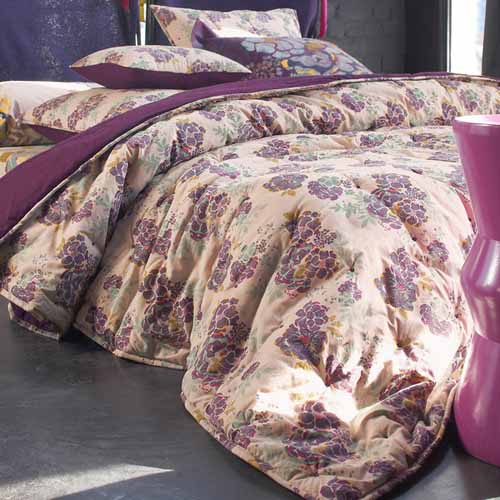 floral bedding sets in cream and purple colors