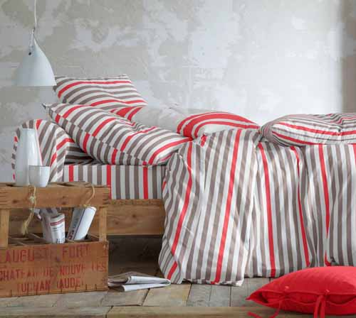 gray and red stripes on modern bedding sets