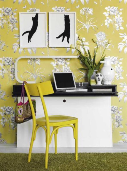 gray and yellow floral wallpaper for fall decorating ideas