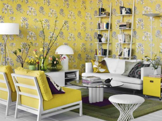 gray and yellow wallpaper with flowers and yellow upholstery are modern fall decorating ideas