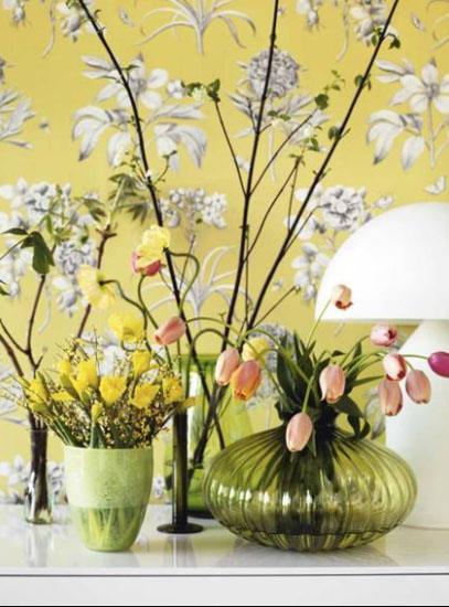 light gray and yellow wallpaper with flowers are wall decorating ideas for fall