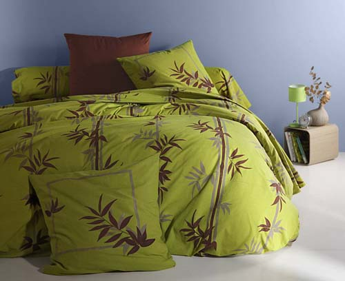 green and broqn bedding fabrics and floral bed sets are modernbedroom interior trends