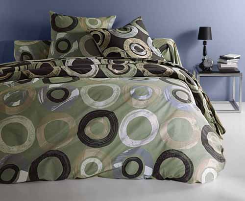 grey green bedding sets with rings and circles are modern bedroom interior trends