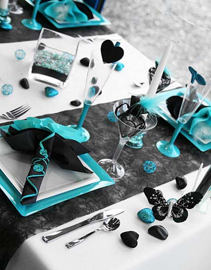 hearts decorations and butterflies in black and turquoise colors for modern table decor