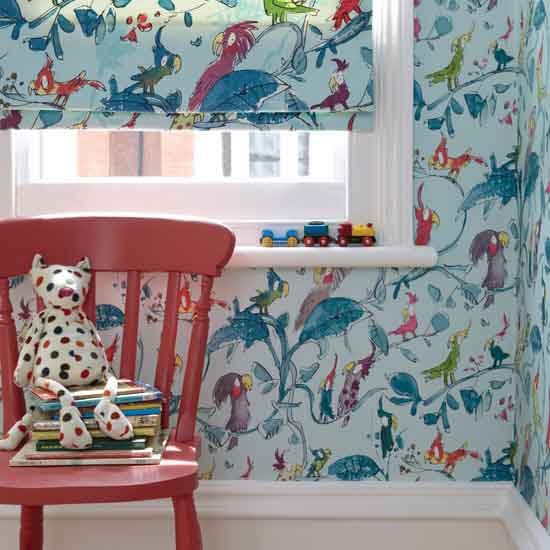blue wallpaper for kids rooms decor with birds