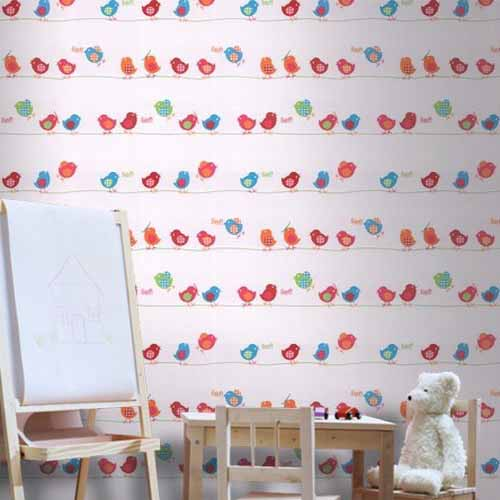 red and blue kids wallpaper with small birds