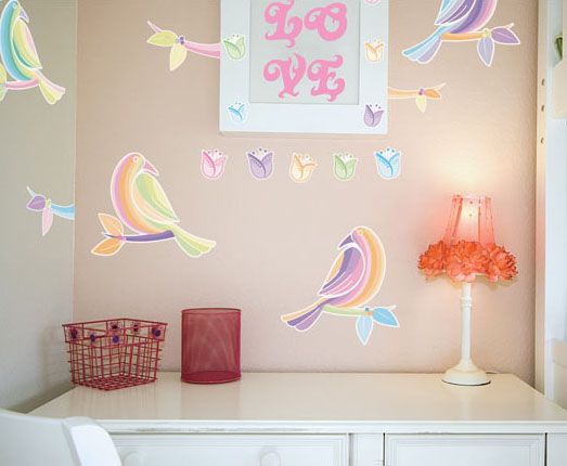 wall vinyl stickers with birds images for kids bedroom decorating