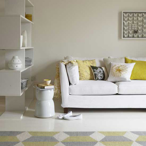 white light gray and yellow color scheme for living room decorating in fall