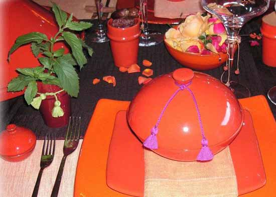 orange tableware and table decorating ideas for Moroccan style party