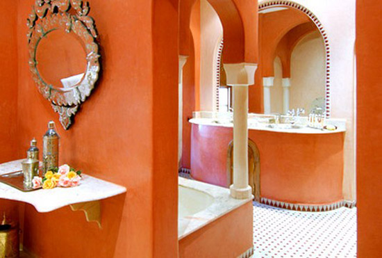 moroccan bathroom decorating with cream and orange wall paint colors