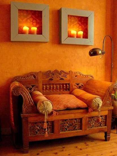 moroccan furniture and decor accessories and orange wall paint