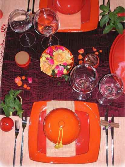 table setting for party in moroccan style