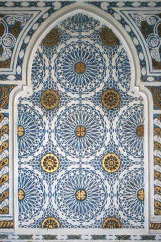 moroccan tiles and painting in white and blue colors for wall decoration in  Moroccan style