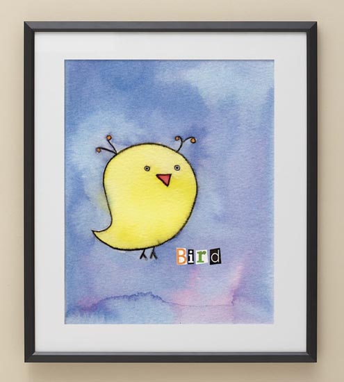 tweety birds image in black picture frame