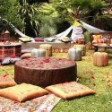 leather ottomans and floor cushions party ideas in middle eastern style