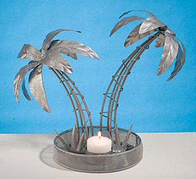 two palms candle centerpiece for arabian nights party table decor