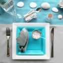 white and turquoise table cloth napkins and dinnerware for table setting