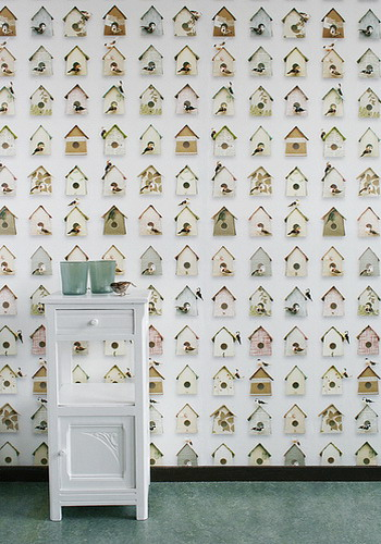 modern wallpaper with wooden bird houses