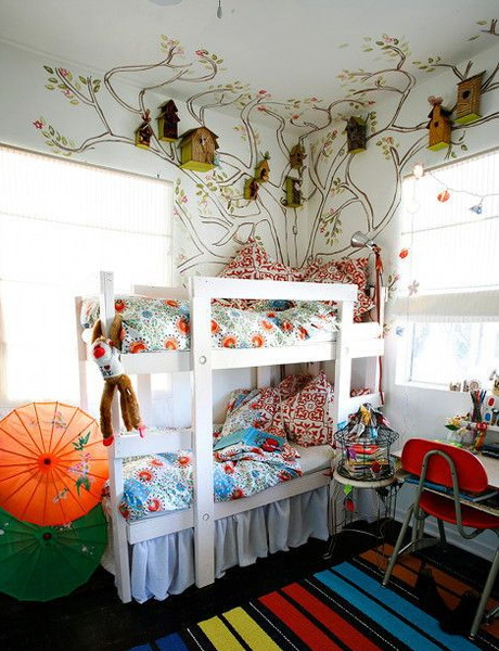 Kids Room Decorating With Wooden Bird Houses