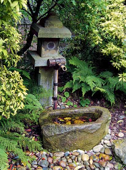 bamboo fountains for japanese gardens make exotic and modern backyard or front yard decorations