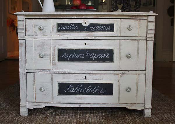 chalkboard paint for decorating a dresser and creating black and white decor