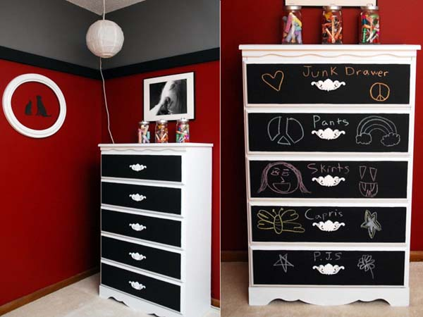 blackboard paint and white furniture decoration ideas to refresh a dresser
