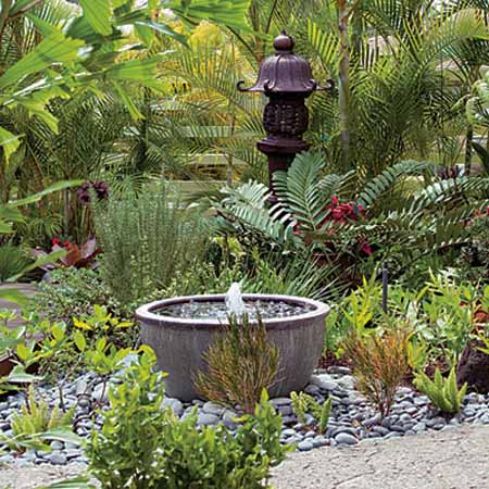 Bowl Outdoor Fountain Design And Beautiful Backyard Landscaping Ideas
