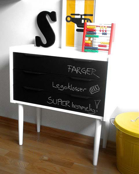 chalkboard paint in black color for dresser painting and ideas for furniture decoration