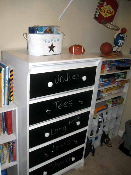 chalkvoard paint and white dresser painting ideas