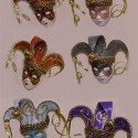 collection of venetian masks made fo a masquerade look like wall decor art