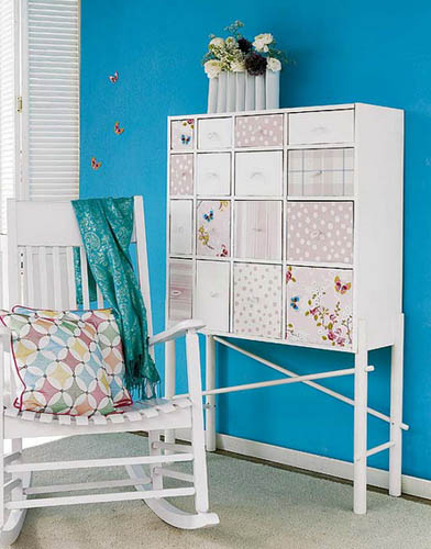diy furniture decoration with modern wallpaper in patchwork fabric style