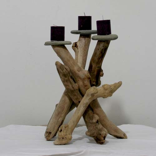 driftwood craft ideas and table decorations, candle holder