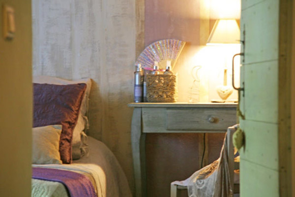 french country home decorating in purple and green colors