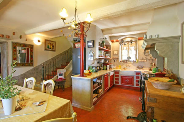 french country kitchen design and dining room decor in yellow and red colors