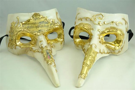 golden and white masquerade masks are interesting craft ideas to make beautiful wall decorations