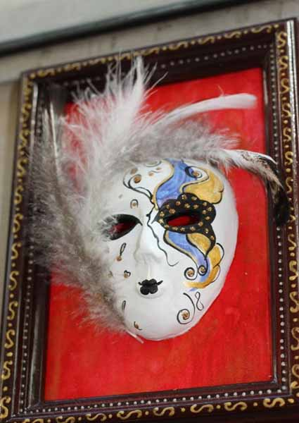 masquerade ball mask inspired by venetian mask is used as wall decor art