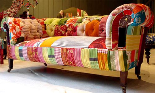 modern furniture design trends include patchwork fabric