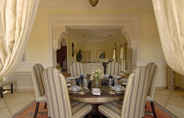 decorating dining rooms moroccan style with light stripes furniture and white decorative curtains