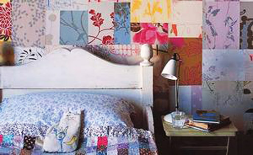 patchwork wall decor ideas for modern bedroom decorating