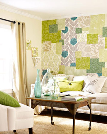 patchwork wallpaper pattern in blue and green colors for living room wall decor