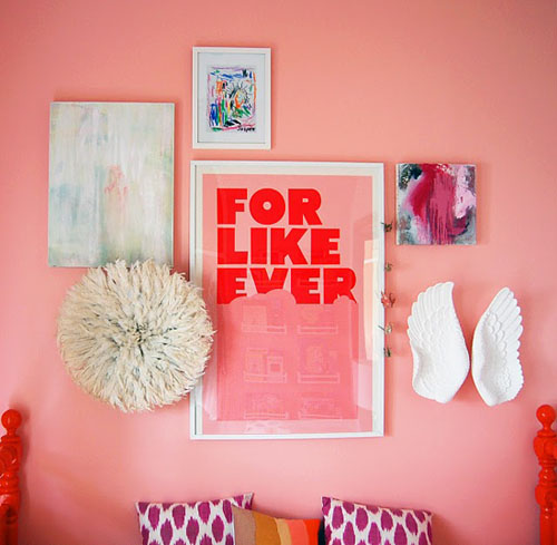 pink wall decorating with white juju hat