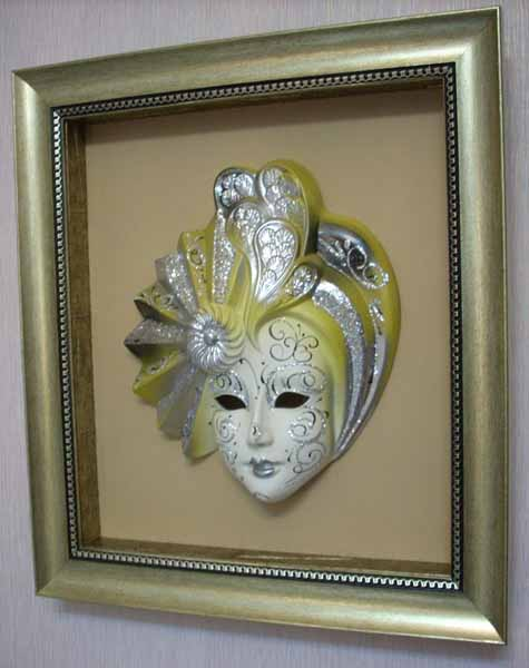 silver masquerade masks in venetian style are modern wall decor art