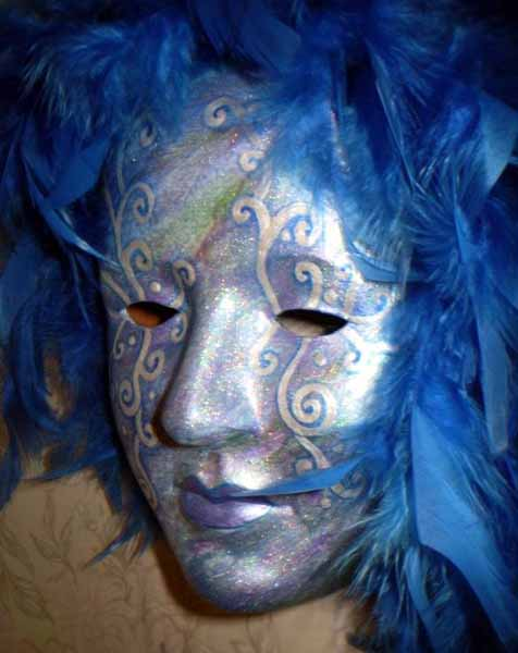 blue and silver venetian mask with feathers decorations