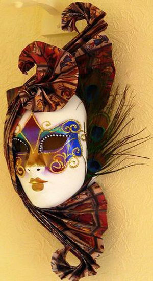 Modern Wall Decoration with Venetian Masks Made for a Masquerade