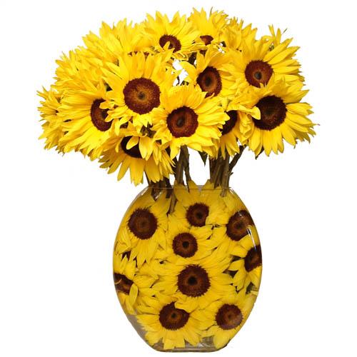 sunflower bouquet in a vase with sunflower design