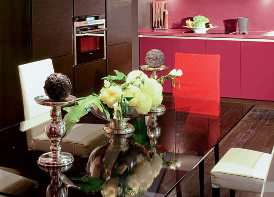 art deco decorating style in pink-red and dark brown colors