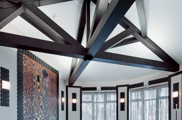 Ceiling Decoration With Dark Wood Beams For Balinese Decor