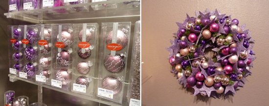christmas tree decorations in light and dark purple colors