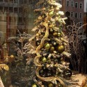 golden green christmas tree decorating