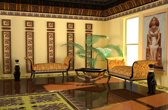 Ancient Egyptian Interior Decor : egyptian interior style calls for dark wood wall decoration and ...